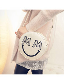Sweet White Smiling Face Pattern Decorated Round Shape Shoulder Bag