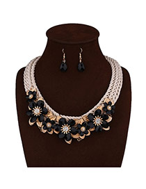 Exaggerated Black Flower Shape Decorated Hand-woven Chain Jewelry Sets