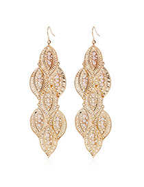 Elegant Gold Color Pearl Decorated Hollow Out Leaf Shape Earring