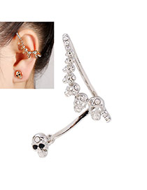 Vintage Silver Color Skull Shape Decorated Simple Long Earring