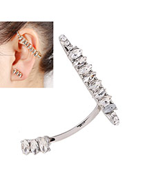 Elegant Silver Color Oval Diamond Decorated Simple Earring