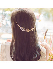 Vintage Gold Color Hollow Out Leaf Shape Decorated Simple Hair Clip