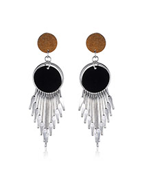 Exaggerated Silver Color+black Tassel Pendant Decorated Round Shape Earring