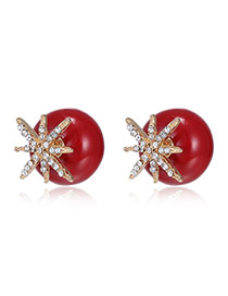 Exquisite Red Starfish Decorated Ball Shape Earring
