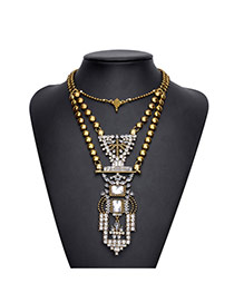 Exaggerated Antique Gold Geometric Shape Pendant Decorated Double Layer Neckace