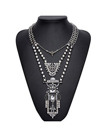 Exaggerated Anti-silver Geometric Shape Pendant Decorated Double Layer Neckace