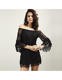 Sexy Black Hollow Out Lace Decorated Off-the-shoulder Short Dress