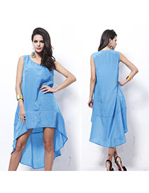 Fashion Blue Pure Color Decorated Sleeveless Irregular Dovetail Dress