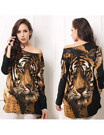 Casual Coffee Tiger Pattern Decorated Long Sleeve Loose Short Dress