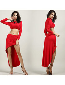 Sexy Red Pure Color Decorated Long Sleeve Dovetail Hem Dress Suits