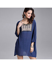 Casual Navy Blue Embroidery Flower Decorated Three Quarter Sleeve Short Dress