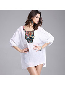 Casual White Embroidery Flower Decorated Three Quarter Sleeve O Neckline Dress