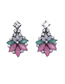 Exaggerated Pink Gemstone Decorated Flowe Shape Earring