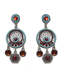 Vintage Multi-color Round Shape Pendant Decorated Hollow Out Simple Earrings