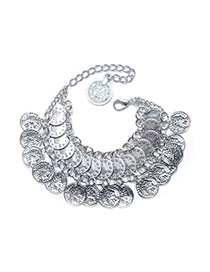 Fashion Antique Silver Coin Pendant Decorated Multi-layer Simple Bracelet