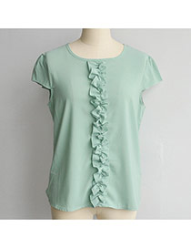 Fashion Green Pleated Bowknot Decorated Pure Color Short Sleeve Chiffon Blouse