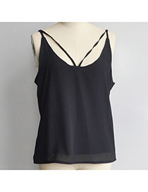 Casual Black Pure Color Design V Neckline Larger Size Shoulder Strap Chiffon Vest