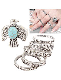 Vintage Silver Color Big Gemstone Decorated Geometric Shape Jewelry Set(6pcs)