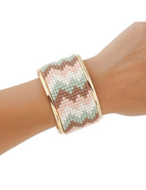 Fashion Coffee Waving Pattern Decorated Opening Bracelet