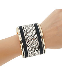 Elegant Black Diamond Decorated Wide Opening Bracelet