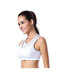 Fashion White Double Neckline Decorated Wireless Yoga Sports Vest