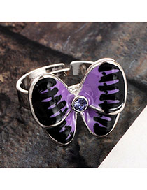 Lovely Purple Diamond Decorated Butterfly Design Simple Ring