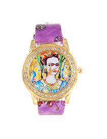 Vintage Purple Queen Pattern Decorated Round Case Design Simple Watch