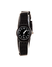 Sweet Black Round Case Decorated Pure Color Simple Watch