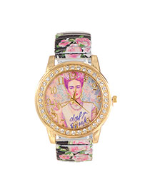 Lovely Black Girl Pattern Decorated Printing Flower Strap Watch