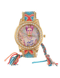 Lovely Blue+red Girl Pattern Decorated Hand-woven Rope Simple Watch