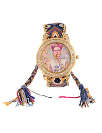 Lovely Multi-color Girl Pattern Decorated Hand-woven Rope Simple Watch