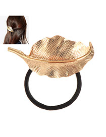 Fashion Gold Color Metal Leaf Decorated Simple Hair Hoop