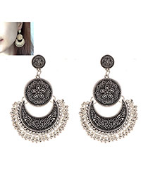 Vintage Silver Color Moon Shape Decorated Tassel Earrings