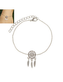 Fashion Silver Color Metal Leaf Pendant Decorated Hollow Out Bracelet