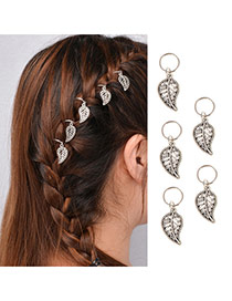 Delicate Silver Color Hollow Out Leaf Decorated Pure Color Design Simple Hair Clip