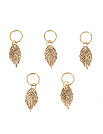 Delicate Gold Color Metal Leaf Decorated Pure Color Design Simple Hair Clip