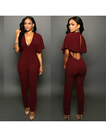 Casual claret red Pure Color Design V Necklace Shawls Loose Jumpsuit