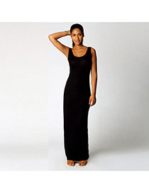 Elegant Black Round Neckline Design Pure Color Sleeveless Long Dress