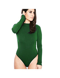 Sexy green Long Sleeve Design Pure Color Round Neckline Slim Pantdress