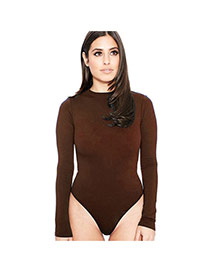 Sexy Brown Long Sleeve Design Pure Color Round Neckline Slim Pantdress