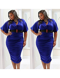 Sexy blue Pure Color Design V Neckline Three Quarters Sleeve Package Hip Large Size Dress