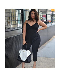 Sexy Black Pure Color Design V Neckline Large Size Loose Strap Jumpsuit