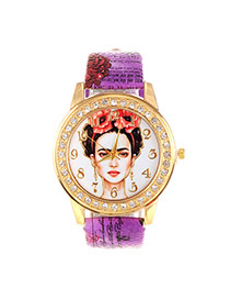 Vintage Purple Beautiful Girl Pattern Decorated Round Case Simple Watch