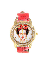 Vintage Red Beautiful Girl Pattern Decorated Round Case Simple Watch