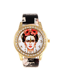 Vintage Black Beautiful Girl Pattern Decorated Round Case Simple Watch