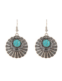Retro Silver Color Round Shape Gemstone Decorated Round Earrings