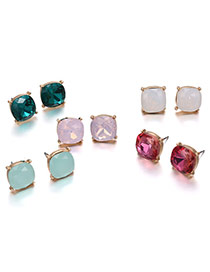 Fashion Multi-color Square Shape Gemstone Decorated Simple Earrings