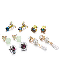 Fashion Multi-color Diamond&pearl Decorated Insect Shape Simple Earrings