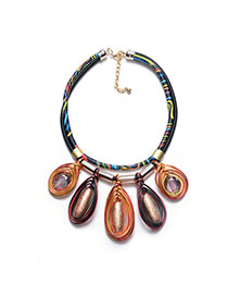 Exaggerated Coffee Oval Shape Pendant Decorated Multi-layer Hand-woven Rope Design Simple Necklace