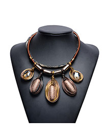 Exaggerated Brown Oval Shape Pendant Decorated Multi-layer Hand-woven Rope Design Simple Necklace